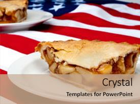 Powerpoint template apple pie sitting on american flag 1611 presentation design having 2 pcs of apple pie background and a coral colored foreground toneelgroepblik Images