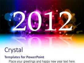 Presentation theme having 2012 new year celebration background background and a sky blue colored foreground.