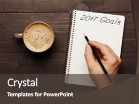 <b>Crystal</b> PowerPoint template with 2017 planning and motivation themed background and a dark gray colored foreground design featuring a [design description].