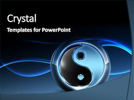 Powerpoint template yin and yang symbol in illuminated dark blue bcrystalb powerpoint template with 3d yin yang symbol toneelgroepblik Gallery