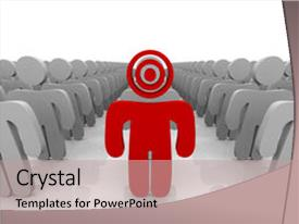 Amazing PPT theme having a group is target backdrop and a coral colored foreground.