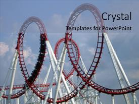 <b>Crystal</b> PowerPoint template with a looping roller coaster themed background and a mint green colored foreground design featuring a [design description].