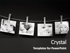 <b>Crystal</b> PowerPoint template with a textured wall background themed background and a dark gray colored foreground design featuring a [design description].