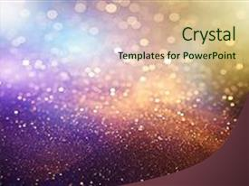 <b>Crystal</b> PowerPoint template with abstract bokeh background christmas glittering themed background and a soft green colored foreground design featuring a [design description].