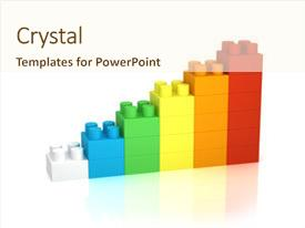 <b>Crystal</b> PowerPoint template with achievement chart from building blocks themed background and a cream colored foreground design featuring a [design description].