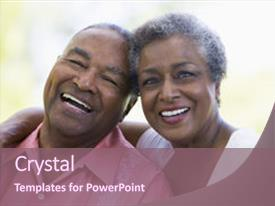 Senior citizen powerpoint templates crystalgraphics design featuring african american senior couple sitting outdoors image and a violet colored foreground toneelgroepblik Choice Image