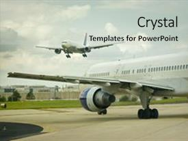 Airline industry powerpoint templates crystalgraphics audience pleasing ppt theme consisting of airplane approaches to land while backdrop toneelgroepblik Gallery