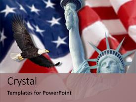 Cool new PPT having american flag flying bald eagle backdrop and a coral colored foreground.