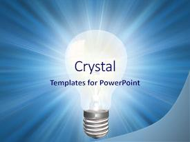 <b>Crystal</b> PowerPoint template with an illuminated light bulb themed background and a sky blue colored foreground design featuring a [design description].