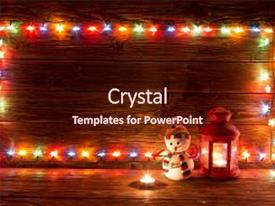 <b>Crystal</b> PowerPoint template with art - christmas lights and vintage lantern themed background and a wine colored foreground design featuring a [design description].