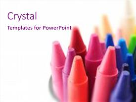 Crayon powerpoint templates crystalgraphics crystal powerpoint template with art crayons ready for creative themed background and a pink colored toneelgroepblik Images