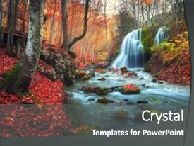 I love this slide set featuring autumn forest with waterfall image and a dark gray colored foreground.