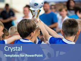 <b>Crystal</b> PowerPoint template with award - young soccer players holding trophy themed background and a ocean colored foreground design featuring a [design description].