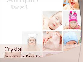 <b>Crystal</b> PowerPoint template with baby collage - high-resolution photo images themed background and a lemonade colored foreground design featuring a [design description].