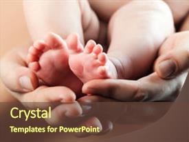 PPT layouts having baby s foot in mother background and a tawny brown colored foreground.