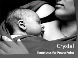 Colorful presentation enhanced with baby sleeping very close backdrop and a gray colored foreground.