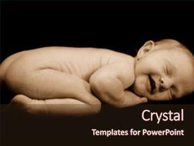 Presentation theme with baby sleeping visible grain background and a wine colored foreground.