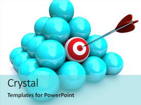 Cool new PPT theme with balls - symolizing targeted marketing backdrop and a arctic colored foreground.
