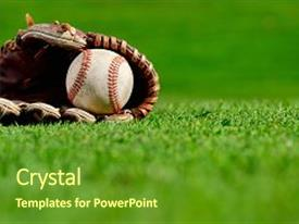 Baseball powerpoint templates crystalgraphics audience pleasing slide set having baseball glove and baseball on backdrop and a tawny brown colored toneelgroepblik Image collections