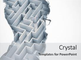 <b>Crystal</b> PowerPoint template with bearded businessman in glasses thinking themed background and a light gray colored foreground design featuring a [design description].