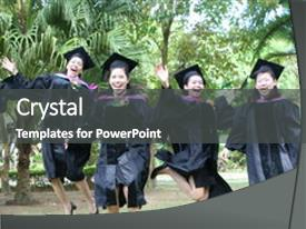 <b>Crystal</b> PowerPoint template with beautiful asian university graduates celebrate themed background and a gray colored foreground design featuring a [design description].