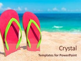 Amazing presentation having beautiful beach beach sandals on backdrop and a lemonade colored foreground.