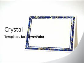 <b>Crystal</b> PowerPoint template with blank greeting card isolated themed background and a white colored foreground design featuring a [design description].