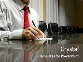 <b>Crystal</b> PowerPoint template with blank paper in board room themed background and a dark gray colored foreground design featuring a [design description].