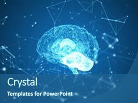 <b>Crystal</b> PowerPoint template with blue abstract futuristic science themed background and a ocean colored foreground design featuring a [design description].