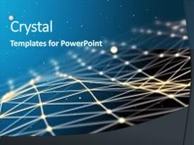 <b>Crystal</b> PowerPoint template with blue futuristic technology background beautiful themed background and a ocean colored foreground design featuring a [design description].