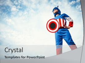 Captain america powerpoint templates crystalgraphics cool new theme enhanced with boy dressed as captain america theme and a light gray colored toneelgroepblik Gallery