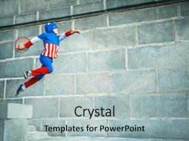 Captain america powerpoint templates crystalgraphics a theme with boy dressed as captain america background and a light gray colored foreground toneelgroepblik Gallery