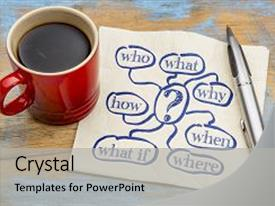 Amazing PPT theme having brainstorming or decision making questions backdrop and a light gray colored foreground.