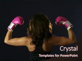 <b>Crystal</b> PowerPoint template with breast cancer - young woman flexing with pink themed background and a wine colored foreground design featuring a [design description].