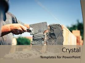 <b>Crystal</b> PowerPoint template with bricklayer construction worker installing brick themed background and a coral colored foreground design featuring a [design description].