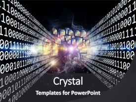 <b>Crystal</b> PowerPoint template with bright idea - composition of document symbols lights themed background and a dark gray colored foreground design featuring a [design description].
