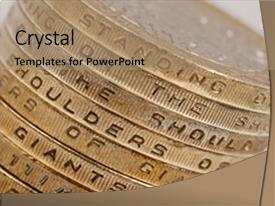 PPT theme enhanced with british business plan - uk currency background and a coral colored foreground.