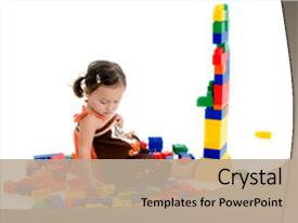 <b>Crystal</b> PowerPoint template with building blocks - adorable japanese american three year themed background and a mint green colored foreground design featuring a [design description].