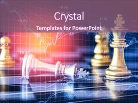 <b>Crystal</b> PowerPoint template with business graph on chess board themed background and a violet colored foreground design featuring a [design description].