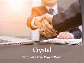 <b>Crystal</b> PowerPoint template with business man business handshake and themed background and a gray colored foreground design featuring a [design description].