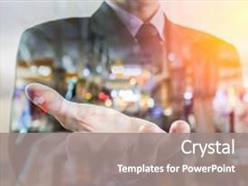 <b>Crystal</b> PowerPoint template with business man business put his themed background and a gray colored foreground design featuring a [design description].