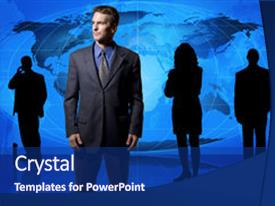 Slide deck featuring business man in front background and a navy blue colored foreground.