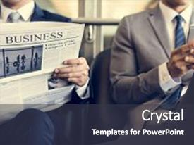 <b>Crystal</b> PowerPoint template with business men break sit read themed background and a dark gray colored foreground design featuring a [design description].