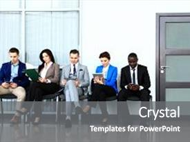 Cool new theme with business people waiting for job backdrop and a gray colored foreground.