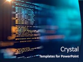 <b>Crystal</b> PowerPoint template with business - programming code abstract technology background themed background and a navy blue colored foreground design featuring a [design description].