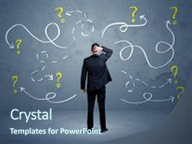 <b>Crystal</b> PowerPoint template with business - salesman in doubt can not themed background and a ocean colored foreground design featuring a [design description].
