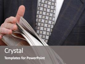 <b>Crystal</b> PowerPoint template with business suit - man reading newspaper themed background and a gray colored foreground design featuring a [design description].