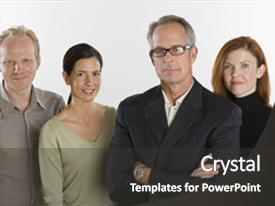 Colorful slide deck enhanced with business team backdrop and a dark gray colored foreground.