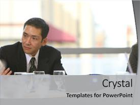 <b>Crystal</b> PowerPoint template with businessman in board room meeting themed background and a light gray colored foreground design featuring a [design description].