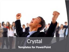 Theme enhanced with businessman with his arms raised background and a dark gray colored foreground.